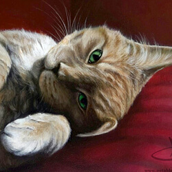 Playful cat painting