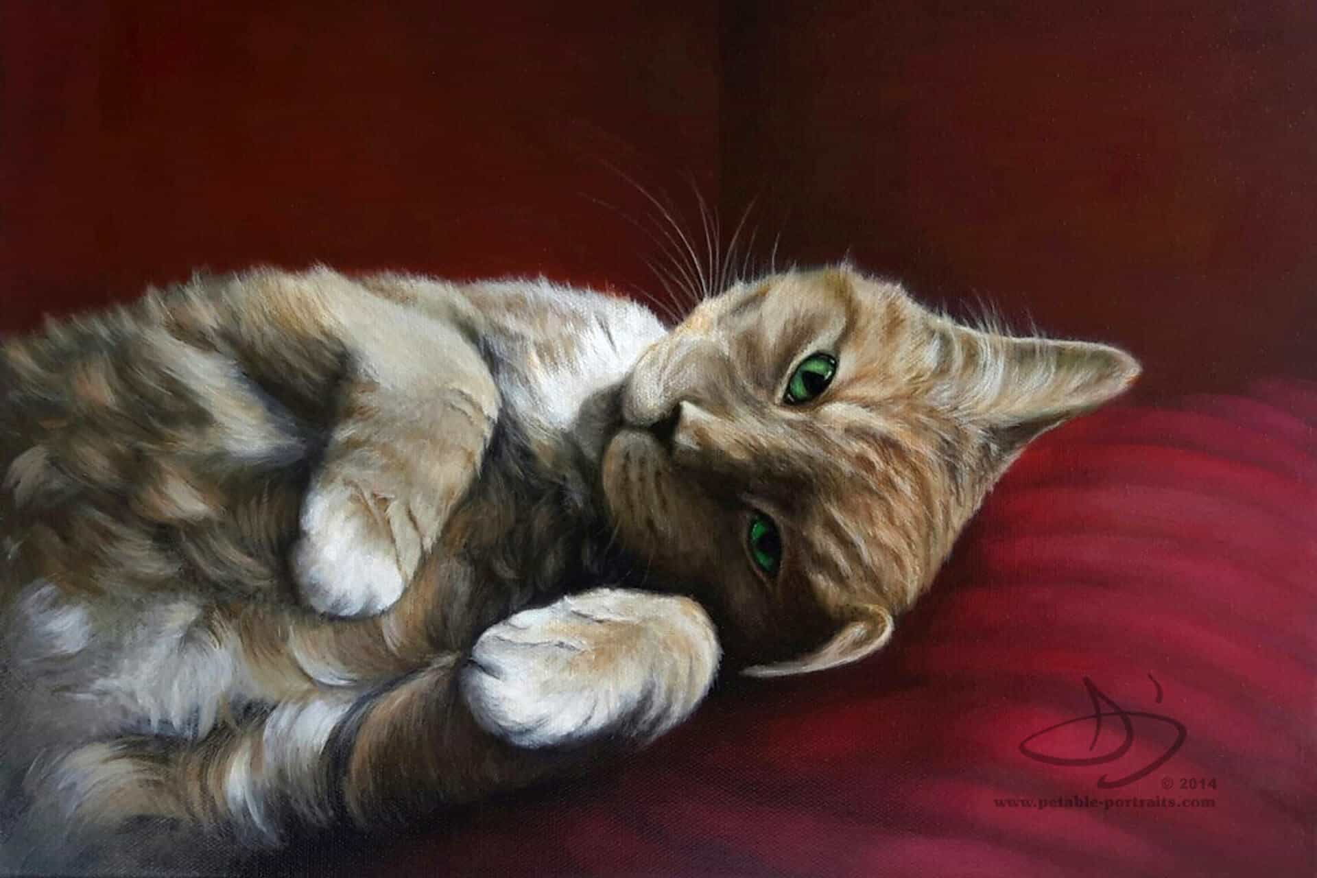 Pet Portrait Painting of a Cat