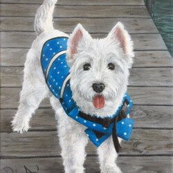 Westie Dog Portrait Painting
